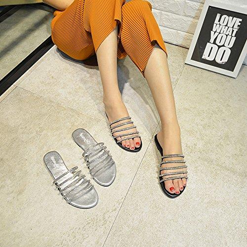 HGTYU-La nuova pelle pantofole di perforazione di acqua fredda e la catena con una base piana scanalata personalità di svago e vestito a metà e 37 41