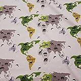 Stoff Meterware Baumwolle beige grau oliv Tiere Weltkarte