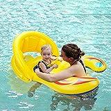 HANMUN Schwimmring für Mutter und Pool – Hammun Sommer Schwimmring Eltern Kind aufblasbar Sonnenschutz sicher Handgriff Doppelsitz Boot für 6 Monate Baby Kinder