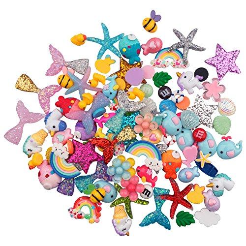 (sinblue 100Stück Schlamm Charms mit Meerjungfrau Schwanz Einhorn Kunstharz Flatback Enten von schlamm Perlen gemischt für Ornament Scrapbooking DIY Basteln)