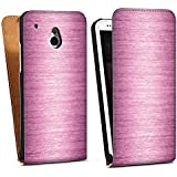 HTC One mini Tasche Hülle Flip Case Metal Look - Pink Metall Rosa Pink