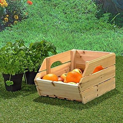 Kartoffelkiste Obstkiste Apfelkisten mit Griffen 38 cm x 27 cm x 20 cm (B x L x H) von Melko bei Du und dein Garten