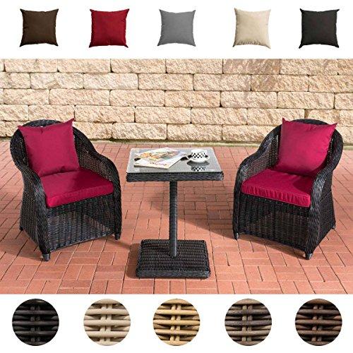 CLP Gartengarnitur TERMINI | Sitzgruppe mit 2 Sitzplätzen | Gartenmöbel-Set aus Polyrattan | Komplett-Set mit 2 Gartenstühlen und einem Tisch | In verschiedenen Farben erhältlich Rattanfarbe: Schwarz, Bezugfarbe: Rubinrot