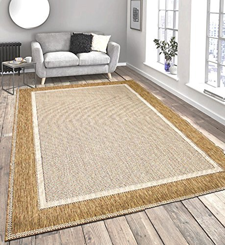 Beige Flatweave Border Design Very Hardwearing