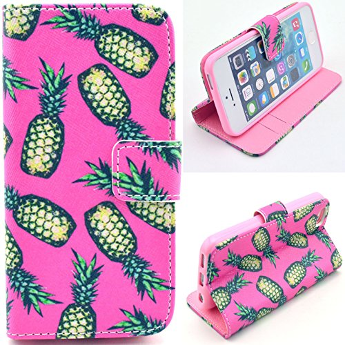 Voguecase® Schutzhülle Tasche Leder Brieftasche Hülle Case Cover für Apple iPhone 5 5S (OKAY) + Gratis Universal Eingabestift lange Ananas