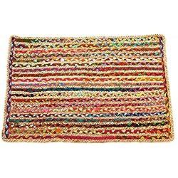 Alfombra de yute de varios colores diseño mexicano 150x90