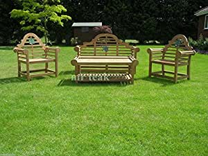 THE SISSINGHURST LUTYENS DELUXE TEAK GARDEN BENCH SET