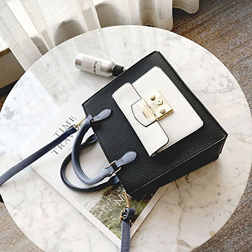 Wtusd Ladies New Stylish Shoulder Messenger Small Square Pack Wild Simple Small Bag Borse A Tendenza Colore Nero + Bianco