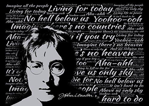 John Lennon-Imagine-Songtext Poster-Pop Star Legende Superstar King Best Farbe Foto Bild Einzigartige Print A4Wand Poster laminiert