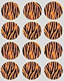 12 Tiger Print Design rice paper fairy / cup cake 40mm toppers pre cut cake decoration