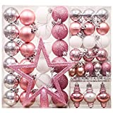 Valery Madelyn Palline di Natale 60 Pezzi 4-20cm Plastic Christmas Tree Baubles Beaded Necklace And Hanger Decorazioni di Natale Meraviglioso Mystery Theme Pink Silver Multiwrapping