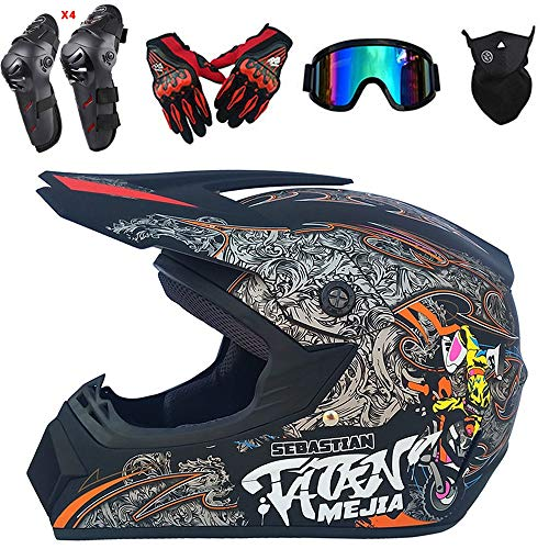 QYTK Motocross Helm Herren Integralhelm Matte Graues Monster, CK-21 Off-Road Enduro Motorradhelm Set mit Visier Brille Maske Handschuhe Knieschoner Ellenbogenschoner für ATV MTB Motorrad,M(54~55CM)