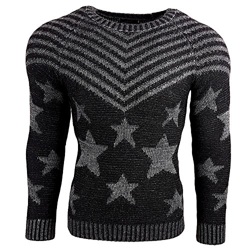 Subliminal Mode - Pull Over Star Homme Tricot SB-6263 Grosse Maille Noir