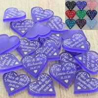 Personalised Wedding Love Hearts Favours Table Decorations Mr & Mrs Swirl Confetti Favour with ANY TEXT (Small 2cm Hearts) Little Shop of Wishes