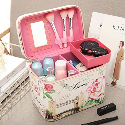 Corea del Sur de gran capacidad bolsa de maquillaje, cosméticos, caja grande caja de almacenamiento de productos para el cuidado de la piel,Púrpura chica