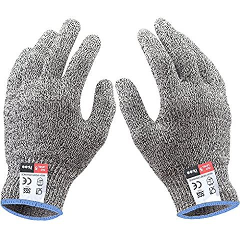 ikee Coupe résistant gants ,Level 5 Protection, Food Grade,EN388 Certified, Safty Gloves for Hand protection and yard-work, Kitchen Glove for Cutting and slicing,1 pair (Size M, L, XL) (L)