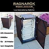 Ragnarök-Möbeldesign PolyRattan Kissenbox DEUTSCHE Marke - EIGENE Produktion - 8 Jahre GARANTIE mit Glasplatte für 20 Kissen Bi-Color BRAUN Gartenmöbel Aluminium Rattan Beistelltisch Stehtisch