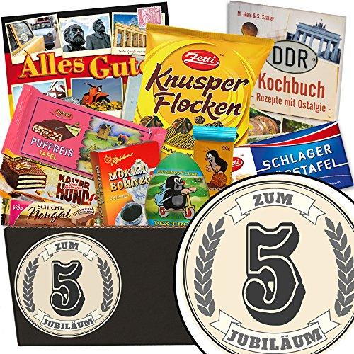 Zum 5. Jubiläum | Schokoladen Set | Geschenkset | Zum Jubiläum | Schokoladenkorb | 5 jähriges Jubiläum Danke | geschenk 5 hochzeitstag | GRATIS DDR Kochbuch