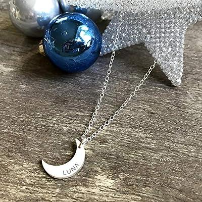 Collier Argent Sterling Personnalisé avec Croissant de Lune, collier de demi lune, bijoux célestes, cadeau d'anniversaire