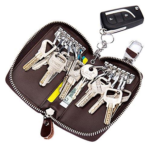 Schlüsseletui SINOKAL Schlüsselbund Tasche Unisex Große Leder Geldbörse Abdeckung Autoschlüssel Brieftasche mit 12 Haken (Schlüsselkasten Herren Geldbörse)