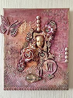 Steampunk in the pink fantasy art work on canvas, mixed media wall art, fantasy mixed media picture, original and unique wall decor