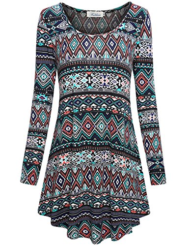 Faddare Women's Long Sleeve Ethnic Loose Fit Geometric Shift Tunics Dress