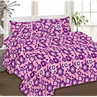 Ibed Home Printed Bedsheets 3 Pieces Bedding Set - KingSize Eat-4496-Purple Multi Color
