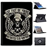 Fancy A Snuggle Club de Moto Biker Moto de crânes Case Cover/Folio en Simili Cuir pour Le Apple iPad iPad Air (1st Generation) Zylinder Live Fast Die Young