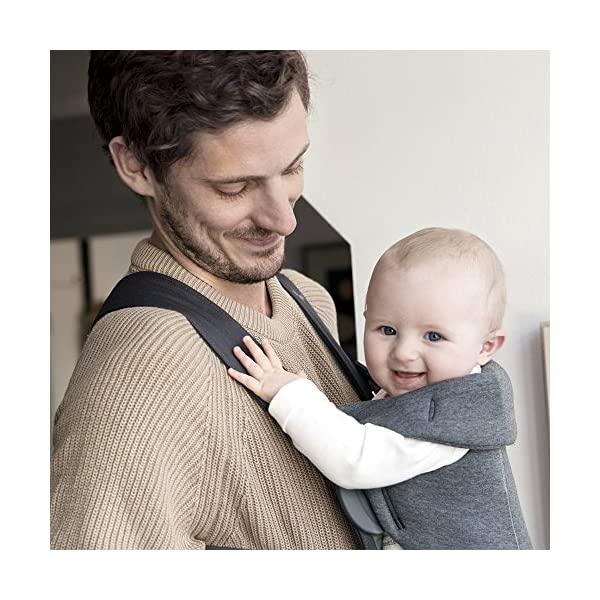 BABYBJÖRN Baby Carrier Mini, 3D Jersey,  Dark Grey Baby Bjorn Perfect first baby carrier for a new-born Small and easy to use 3D Jersey - Our newest and softest material is as snug as your comfiest T-shirt 5