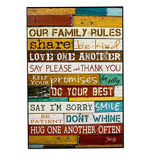Dana34Malory Wandschild mit englischer Aufschrift Our Family Rules, aus Holz, 18 x 12 cm