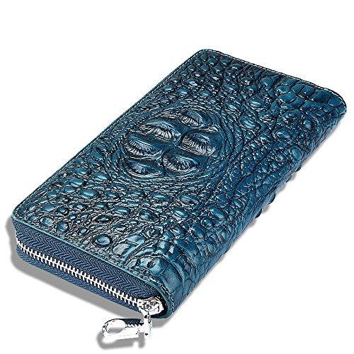 Frauen Lange Leder Clutch Klassische Vintage-Tasche Reißverschluss Brieftasche Männer Krokodil-Muster Kupplung,Blue-OneSize