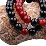ISHOW Yin-Yang Balance Schwarz Achat und Rot Achat Stein Sein und ihr Paar Entfernung Armband (2 Stück)
