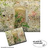 Geschenkset: 1 Poster Kunstdruck (50x40 cm) + 1 Mauspad (23x19 cm) - Mauern, Romantische Garten-Mauer