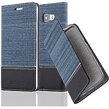 Cadorabo - Etui Housse pour Samsung Galaxy A5 (6) (Modèle 2016) - Coque Case Cover Bumper Portefeuille en Design Tissue-Similicuir avec Stand Horizontale, Fentes pour Cartes et Fermeture Magnétique Invisible en BLEU-FONCÉ-NOIR