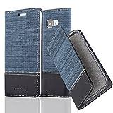 Cadorabo Hülle für Samsung Galaxy A5 2016 (6) - Hülle in DUNKEL BLAU SCHWARZ – Handyhülle mit Standfunktion und Kartenfach im Stoff Design - Case Cover Schutzhülle Etui Tasche Book