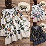 KUDICO Womens Tunic Tops Blouse Ethnic Style Floral Print Long Sleeve V Neck Double-Layer Splicing Hem Button Shirts