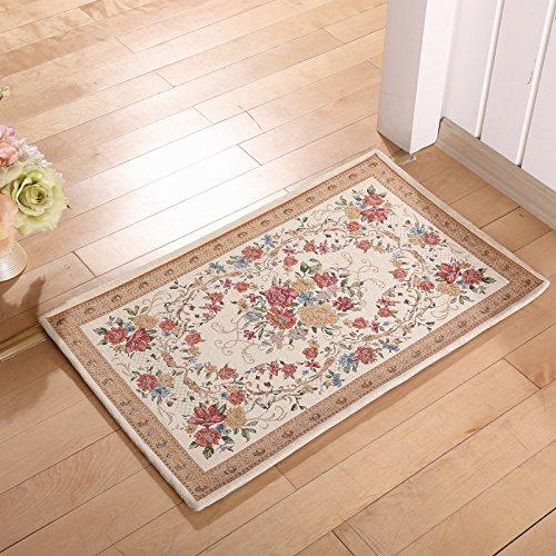 Addensato continentale pastorale famiglie a piede tappetino zerbino alla cucina camera da letto soggiorno bagno Mat Long Mat letto ,80× 120CM, 824m bianco
