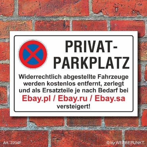 Preisvergleich Produktbild Schild Parkverbot,  Halteverbot,  Ebay.pl,  3 mm Alu-Verbund (450 x 300 mm)