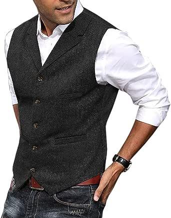 Mens Vest Casual Soft Wool Tweed Suit Vest Herringbone Waistcoat for Groosmen Best Man