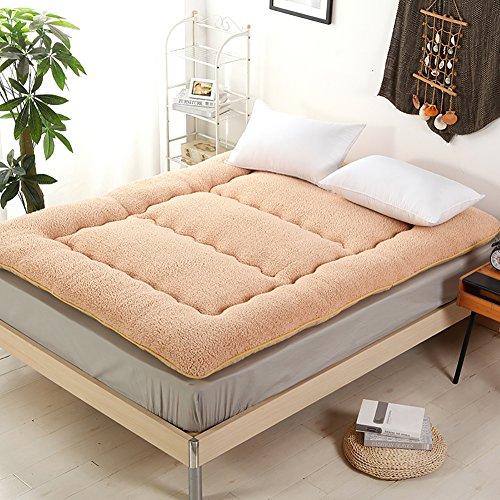 Tan-100% Kaschmir (DULPLAY Weich Matratzeauflagen, Bettdecke Dick Schafe Kaschmir Tatami Anti-rutsch Faltbare Warmen Bett Doppelbett größe -Leicht tan 100x200cm(39x79inch))