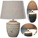 LS-LebenStil Beton Tischleuchte Tischlampe Büroleuchte Schreibtischlampe Keitum Grau 36cm hoch