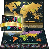 Scratch Off The World Map + Bonus Deluxe EU Map - Personalised Gift Pack and Detailed Map with Capital Cities, Vibrant Colors, Hidden Iconic Landmarks, World Wonders, Outlined US States and all Country Flags. Gift Bundle Includes Precision Scratch Tool and Travel Memory Stickers, By Wanderlust Maps (Deluxe Gold & Black | 61 x 42,7 cm)