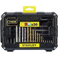 Stanley STA7222-XJ - Fatmax - 36 pezzi accessorio per forare e avvitare. 8 bit per titanio (1,5, 2, 2,5, 3, 3,5, 4, 5 e 6 mm), 4 bit per parete (5, 6, 7 e 8 mm), 5 trapani legno (3, 4, 5, 6 e 8mm), 1 adattatore magnetico 60mm, 14 punti avvitanti (philips: ph1, ph2 e ph3 / pozidriv: pz1, pz2 e pz3 / appartamento: 4, 6 e 7,2 millimetri / torx: 10, 15, e 20 / piazza 1 e 2), 3 punte vite di perforazione (ph1, ph2 e ph3), 1 svasatura.