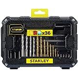 Stanley Fatmax STA7222-XJ Set de 36 accessoires pour perceuse et visseuse 8 forets pour métal titane (1,5 - 2 - 2,5 - 3 - 3,5 - 4 - 5 et 6 mm), 4 forets pour mur (5, 6, 7 et 8 mm), 5 forets à bois (3, 4, 5, 6, et 8 mm), 1 adaptateur aimanté de 60 mm, 14 embouts de vissage (Philips : Ph1, Ph2 et Ph3 - Pozidriv : Pz1, Pz2 et Pz3 - Plats : 4, 6 et 7,2 mm - Torx : 10, 15, et 20 - Carré : 1 et 2), 3 embouts de vissage (Ph1, Ph2 et Ph3), 1 embout de fraisage.