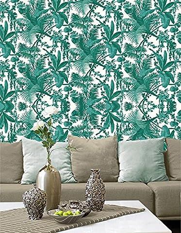 Tropische Blätter Tapete - Schälen und haften - Selbstklebend - Wohnkultur mach es selbst - Packung mit 2 Platten