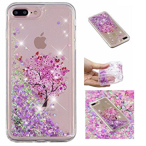 Shinyzone Brillante Liquide TPU Coque iPhone 8 Plus/iPhone 7 Plus, Arbre de Fleurs Créatif 3D Peinture Design,Bling Flottant Sables Mouvants Coeur d'amour Housse pour iPhone 8 Plus/iPhone 7 Plus