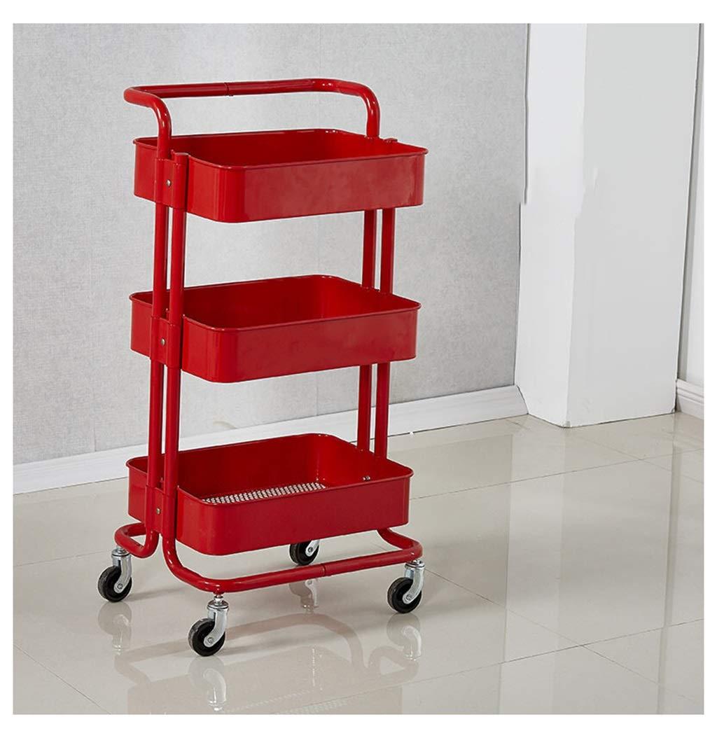BEN-YI Ripiano portaoggetti Estraibile per Carrello Piccolo - Tre Piani -  Cucina Soggiorno - 35 * 45 * 87 cm (Colore : Red, Design : Pull Rod)   ...