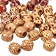 Pandahall 50pcs 16mm Assorted Colour Round Wood Beads for Jewelry Making Loose Spacer Charms with Custome Printing