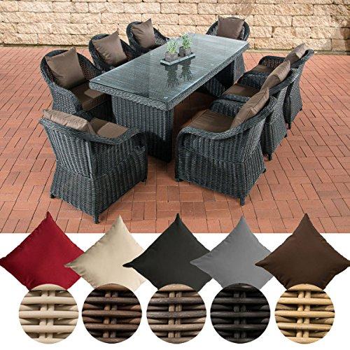 CLP Polyrattan Gartengarnitur LAVELLO XL I Sitzgruppe mit 8 Sitzplätzen I Pflegeleichte...
