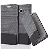 Cadorabo Hülle für Samsung Galaxy J7 2016 (6) - Hülle in GRAU SCHWARZ – Handyhülle mit Standfunktion und Kartenfach im Stoff Design - Case Cover Schutzhülle Etui Tasche Book